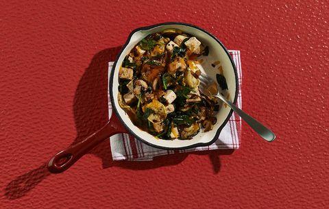 tofu scramble zucchini mushrooms cheese