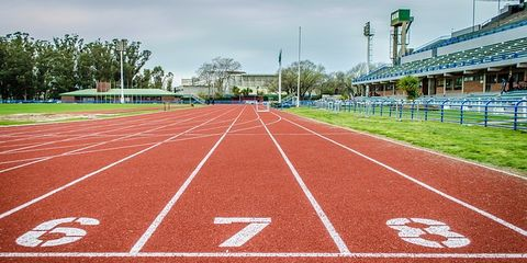 Start line of 100 meters on empty track