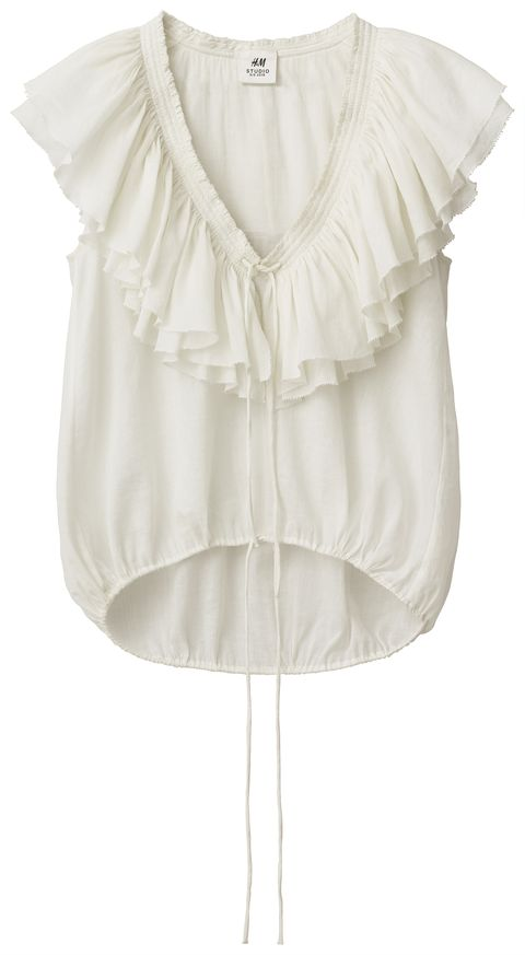 Clothing, White, Blouse, Sleeve, Dress, Neck, Outerwear, Beige, Ruffle, Top,