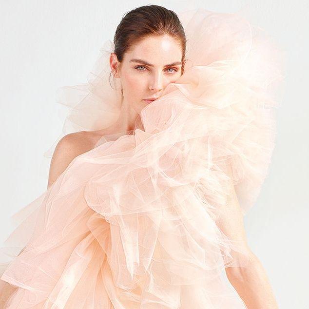 Dress, Clothing, Gown, Wedding dress, Pink, Veil, Shoulder, Skin, Fashion model, Bridal accessory,