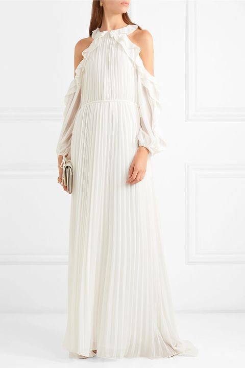 BEACH WEDDING DRESSES -SELF-PORTRAITCold-shoulder ruffled pleated chiffon gown
