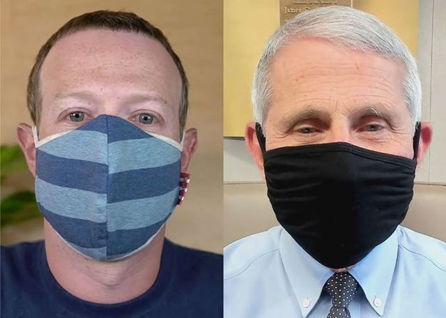 mark zuckerberg and dr anthony fauci wearing masks