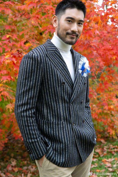 Suit, Clothing, Leaf, Formal wear, Outerwear, Autumn, Orange, Blazer, Tuxedo, Vest,