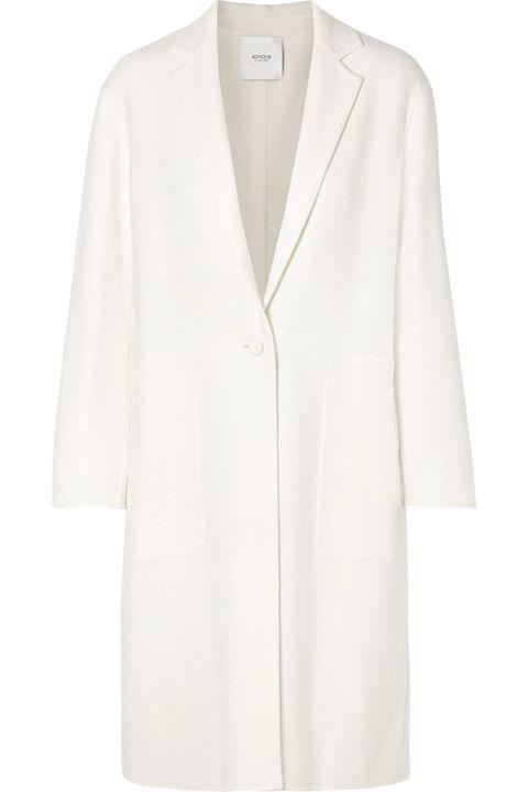 Clothing, White, Outerwear, Coat, Sleeve, Robe, Blazer, Jacket, Neck, Beige,