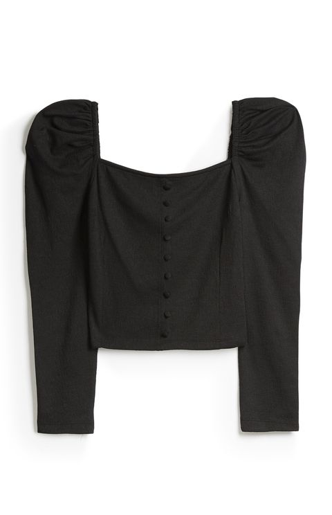 Clothing, Black, Outerwear, Sleeve, Blouse, Crop top, Jacket,