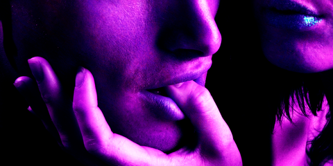 Purple, Violet, Lip, Close-up, Pink, Hand, Mouth, Finger, Flesh, Photography,