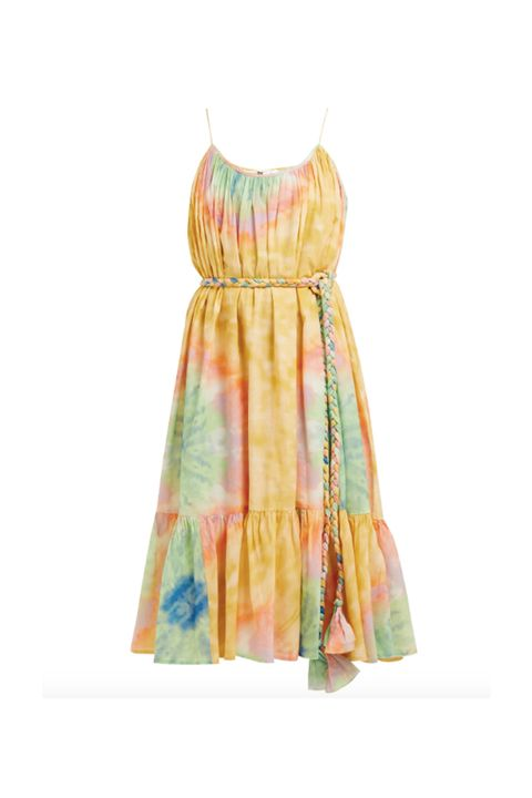 Clothing, Day dress, Dress, Yellow, Turquoise, Cocktail dress, Pattern, Neck, One-piece garment, Pattern,