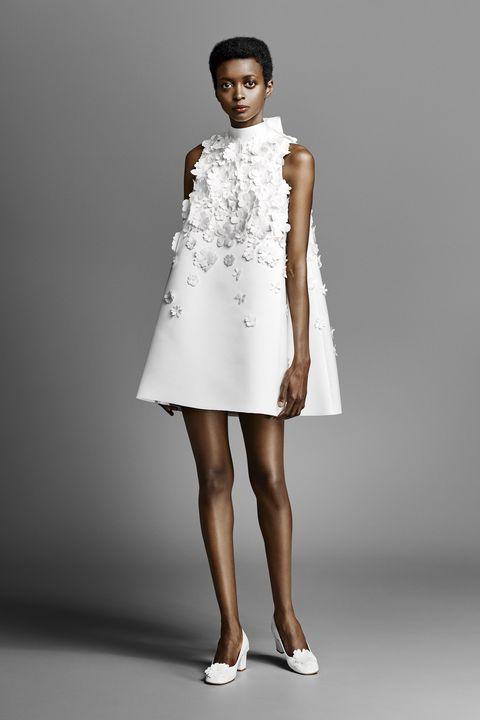 short wedding dress -Clothing, Fashion model, Dress, White, Shoulder, Cocktail dress, Fashion, A-line, Neck, Day dress,