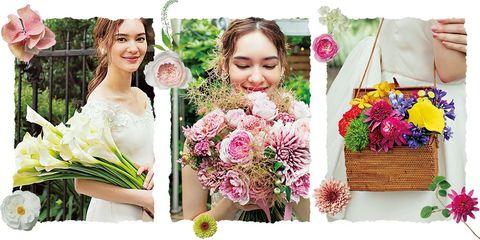 白いカラーのブーケ、ピンクのバラなどのブーケ、カラフルな花で作ったバッグブーケカットを組み合わせた扉画像