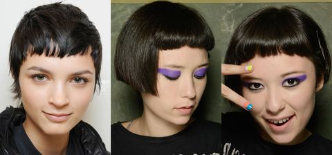 franjas de cabelo em formato de rosto