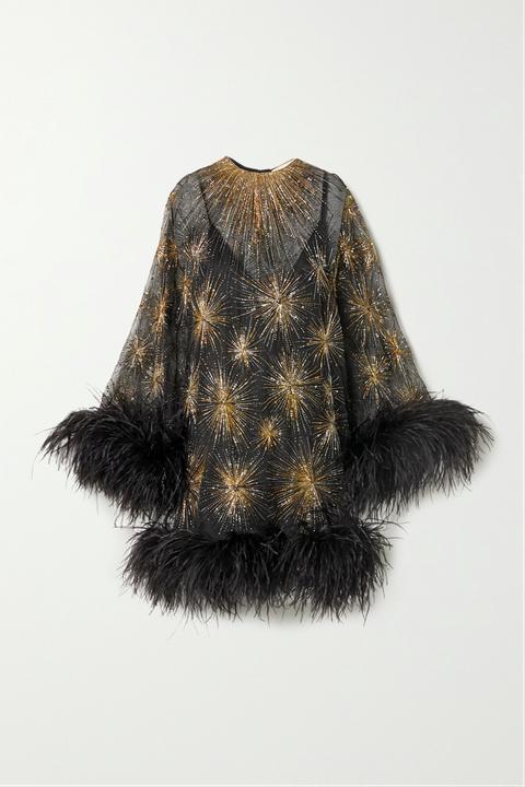 saint laurent feestdagen organza jurk met borduursel en veren