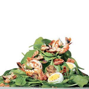 Shrimp and Spinach Salad with Bacon Dressing