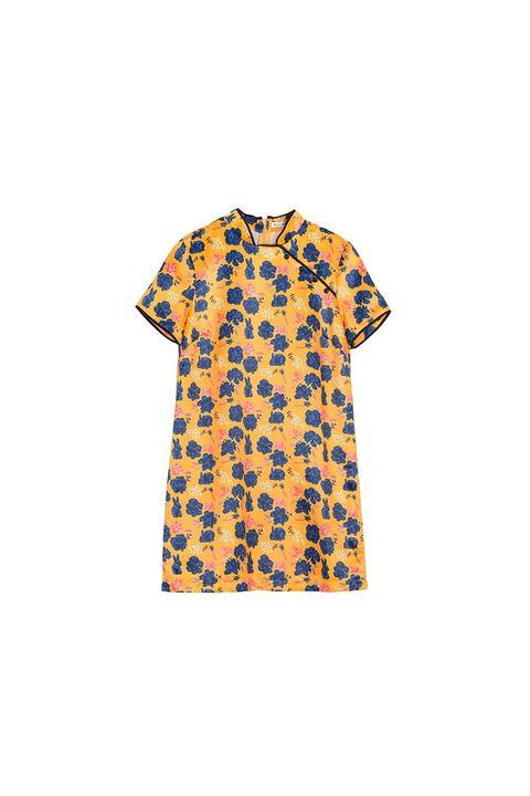 Clothing, Orange, T-shirt, Sleeve, Yellow, Top, Blouse, Day dress, Pattern, Button,