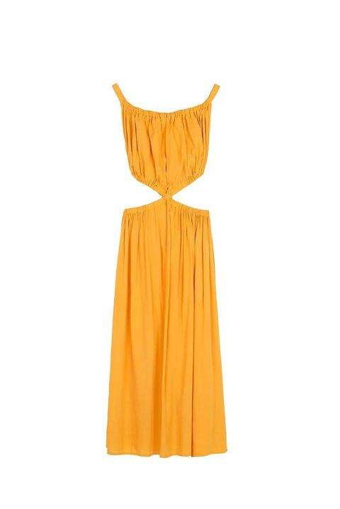 Clothing, Dress, Yellow, Orange, Day dress, Cocktail dress, Neck, Strapless dress, A-line, Sleeve,