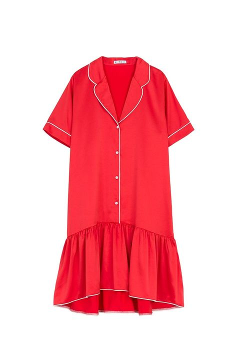 Clothing, Sleeve, Red, Collar, Pink, Outerwear, Neck, Button, Dress, Blouse,
