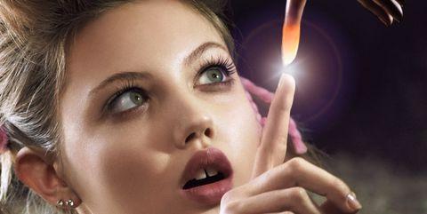 Nose, Finger, Lip, Cheek, Hairstyle, Skin, Eyebrow, Eyelash, Hand, Earrings,