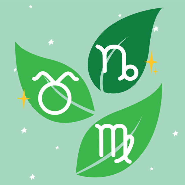earth signs illustrated on leaves