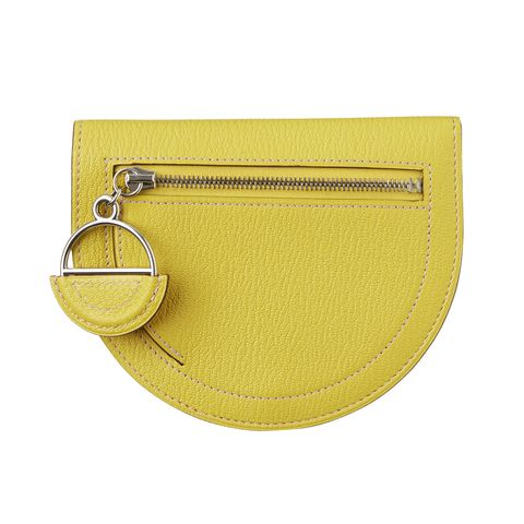 Bag, Yellow, Handbag, Fashion accessory, Leather, Coin purse, Beige, Circle, Wallet, Kelly bag,