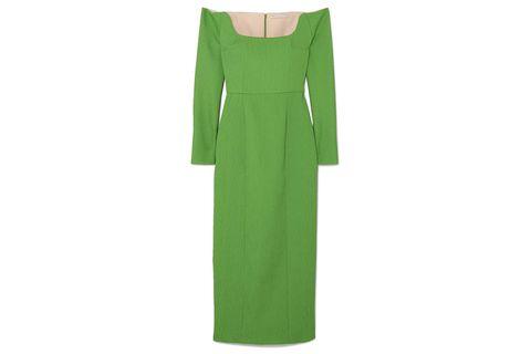Clothing, Green, Dress, Sleeve, Day dress, Shoulder, Formal wear, Gown, Outerwear, Sheath dress,