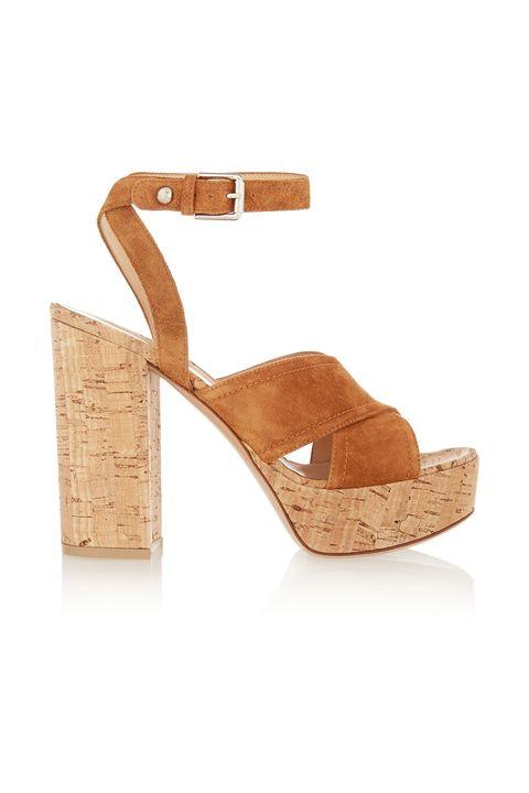 Footwear, Sandal, Tan, Slingback, Shoe, Beige, Brown, Wedge, High heels, Leather,