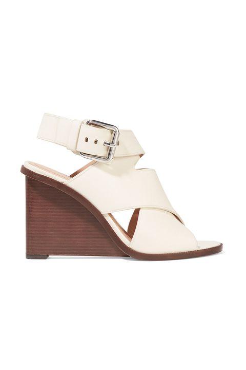Footwear, White, Shoe, Beige, Brown, Sandal, Buckle, Wedge, Slingback, Sneakers,