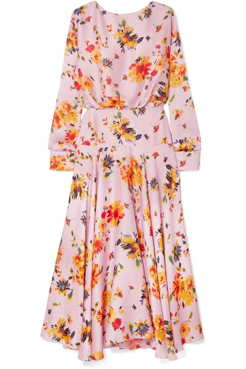 Net a Porter Galvan Majorelle gathered floral-print plissé-satin midi dress