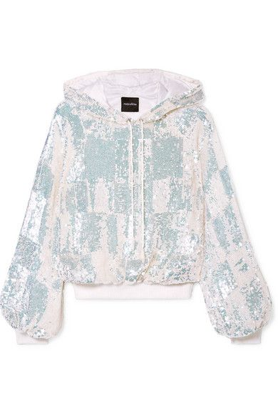 RETROFÊTE Amelia sequined chiffon hoodie