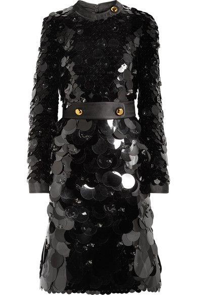 Prada Belted silk-trimmed embellished chiffon dress