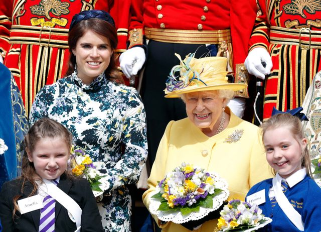 windsor, united kingdom   april 18 embargoed for publication in uk newspapers until 24 hours after create date and time princess eugenie and queen elizabeth ii attend the traditional royal maundy service at st george's chapel on april 18, 2019 in windsor, england during the service the queen distributed maundy money to 93 men and 93 women, one for each of her 93 years photo by max mumbyindigogetty images
