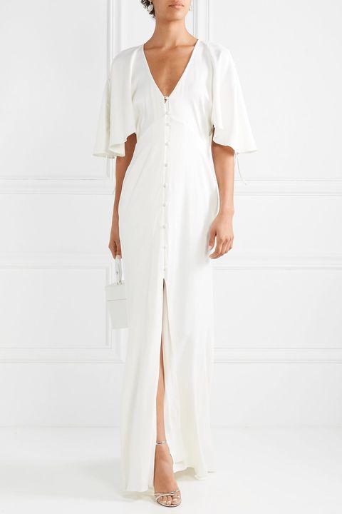 beach wedding dresses -LES HÉROÏNES BY VANESSA COCCHIAROThe Hedy ruched matte-satin gown