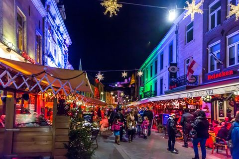 Town, Night, Light, Christmas lights, City, Marketplace, Public space, Lighting, Human settlement, Christmas,