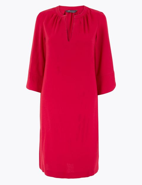 Clothing, Pink, Red, Sleeve, Dress, Magenta, Day dress, Neck, Outerwear, T-shirt,