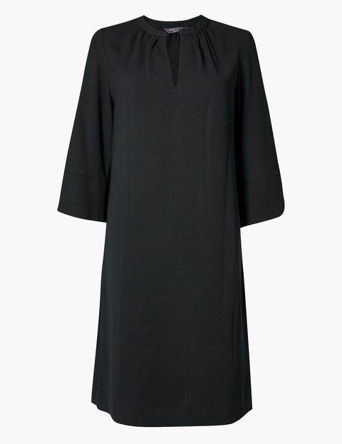 Clothing, Black, Sleeve, Dress, Neck, Little black dress, Blouse, Day dress, Outerwear, Collar,