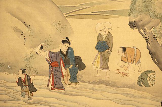 山口素絢「春日児女野遊図」