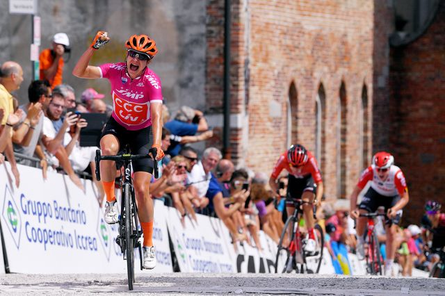 udine, italy   july 14 arrival  marianne vos of the netherlands and team ccc   liv cyclamen points jersey  celebration  lucinda brand of the netherlands and team sunweb  lotte kopecky of belgium and team lotto soudal ladies  during the 30th tour of italy 2019   women, stage 10 a 120km stage from san vito al tagliamento to udine 138m  giro rosa  girorosa  girorosaiccrea  on july 14, 2019 in udine, italy photo by luc claessengetty images