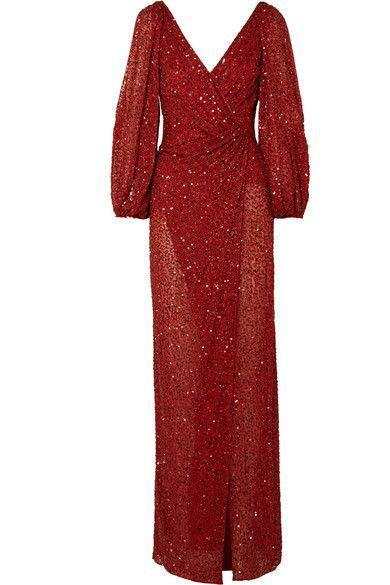 JENNY PACKHAMIda gathered embellished georgette gown