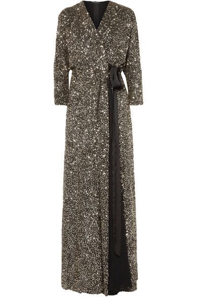 JENNY PACKHAMAda sequined georgette wrap gown