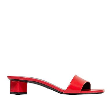 the row紅色方頭涼鞋