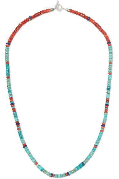 MIKIA, Silver multi-stone beaded necklace