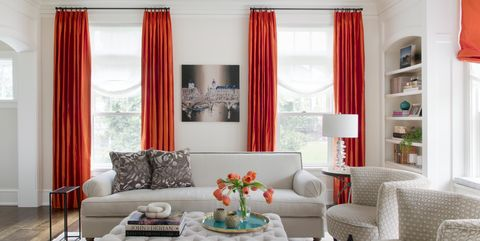 Living room, Room, Furniture, Interior design, Property, Curtain, Red, Couch, Coffee table, Table,