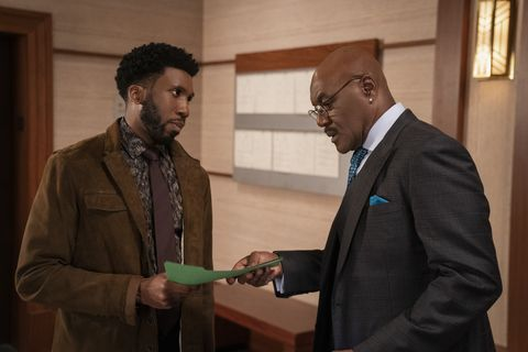the gang offends everyone    episode 406    pictured l r nyambi nyambi as jay dipersia and delroy lindo as adrian boseman of the cbs all access series the good fight photo cr patrick harbroncbs ©2019 cbs interactive, inc all rights reserved
