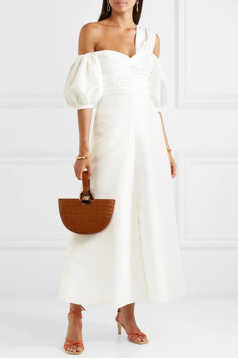 beach wedding dresses -SELF-PORTRAITOff-the-shoulder taffeta midi dress