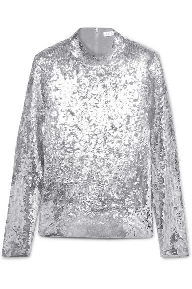 VERONICA BEARD Lucina sequined stretch-tulle top