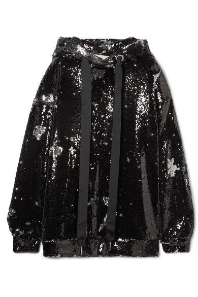 MARQUES' ALMEIDA Oversized sequined tulle hoodie