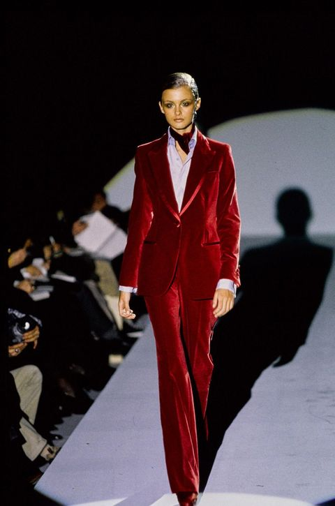 mandatory credit photo by guy marineaucondé nastshutterstock 11822606ak model walks guccis rtw pret a porter fall 1996 runway collection designed by tom ford gucci fall 1996 rtw, paris, france   mar 1996