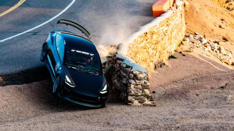 vereran driver randy pobst crashes a tesla model 3 at pikes peak