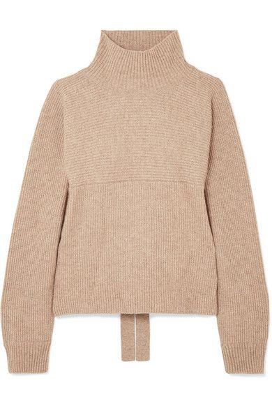 Le 17 Septembre Open-back ribbed-knit turtleneck sweater