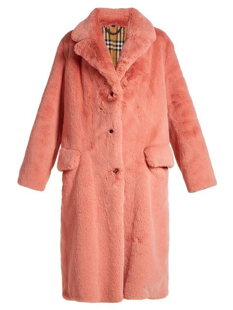 Clothing, Outerwear, Coat, Pink, Trench coat, Sleeve, Overcoat, Robe, Collar, Fur,