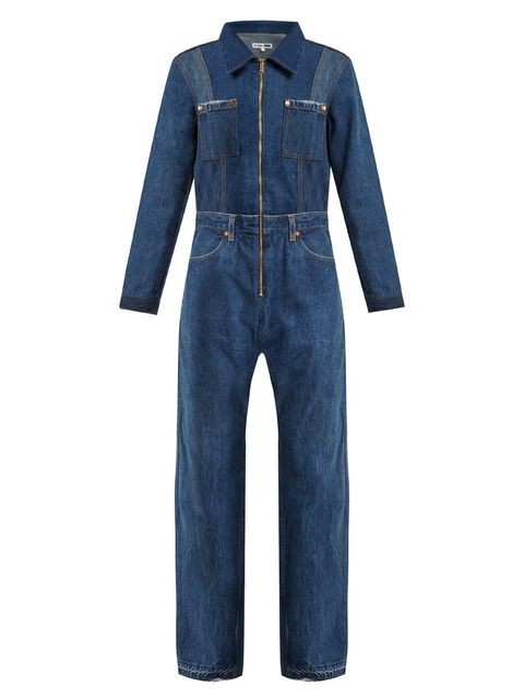 Denim, Clothing, Jeans, Textile, Sleeve, Outerwear, Overall, One-piece garment, Pocket, Trousers,