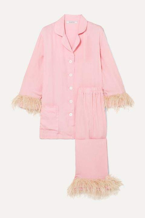 feathers fashion - feather trim pyjamas